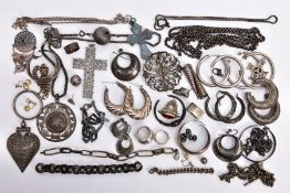 A SELECTION OF SILVER AND WHITE METAL JEWELLERY, to include various hoop earrings, chain necklaces