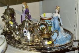 A GROUP OF METALWARE, CERAMICS ETC, to include a plated teapot, coffee pot, cream jug, sugar bowl
