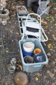 A COLLECTION OF GARDEN ITEMS including four step ladders, two wire baskets etc (10+)