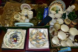 TWO BOXES AND LOOSE CERAMICS, GLASS AND METALWARES, to include ten boxed collectors plates by