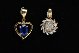 AN 18CT YELLOW GOLD, DIAMOND PENDANT AND A 9CT YELLOW GOLD GEM SET PENDANT, the first of a