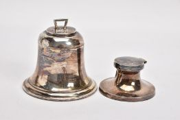 TWO SILVER INKWELLS, the first in the form of a bell with hinged lid opening to a clear glass liner,