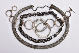 THREE NECKLACES, the first a thick belcher link chain with lobster claw clasp, the second a