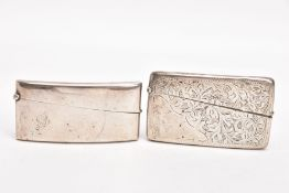 TWO SILVER CARD CASES, the first of a plain polished design, engraved initials 'A E R',