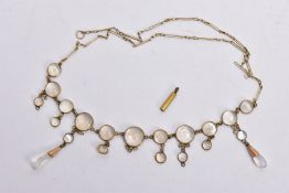A YELLOW METAL MOONSTONE PENDANT NECKLACE, designed with a row of round moonstone cabochons each