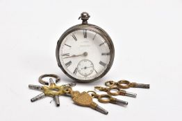 A SILVER OPEN FACE POCKET WATCH, round white dial signed 'J. Reed Brampton', Roman numerals, seconds
