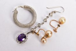FOUR SINGLE EARRINGS, to include an amethyst and diamond drop earring, designed as an oval