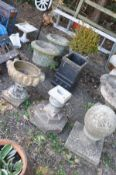 EIGHT VARIOUS GARDEN ORNAMENTS/PLANTERS to include a pair of composite urns height 48cm, a
