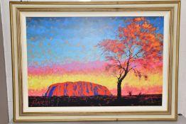 ROLF HARRIS (AUSTRALIA 1930) 'ULURU, SURPRISE SUNSET SHOWER' limited edition print of an