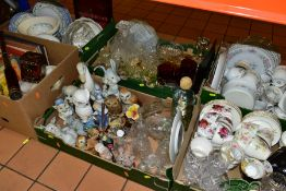 SEVEN BOXES AND LOOSE BOOKS, CERAMICS, GLASSWARES, ETC, to include a C. Wood & Sons wall clock,