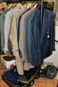 A QUANTITY OF GENTLEMAN'S JACKETS, COATS AND WAISTCOATS, FLAT CAPS, GLOVES etc, to include an Yves