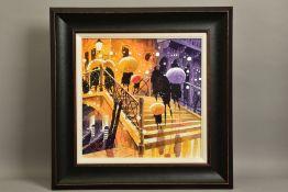 PETER J. RODGERS (BRITISH CONTEMPORARY) 'RAINY STEPS, VENICE', a Venetian night scene, signed bottom