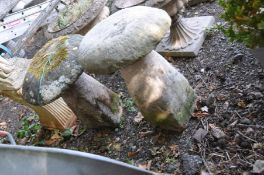 TWO SANDSTONE STADDLE STONES WITH TOPS, largest height 68cm