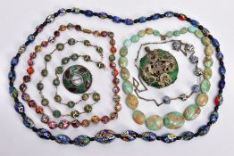 SEVEN PIECES OF JEWELLERY, to include four glass mosaic bead necklaces, a graduated turquoise bead