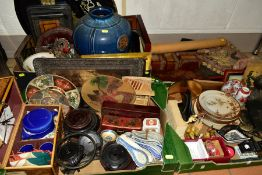 FOUR BOXES OF MOSTLY MODERN ORIENTAL CERAMICS, TREEN, METALWARES, TEXTILES etc, including