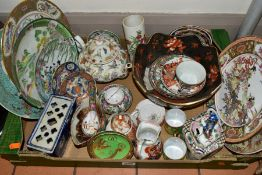 A BOX OF ASSORTED 20TH CENTURY CHNESE AND JAPANESE PORCELAIN, including plates, tea and coffee