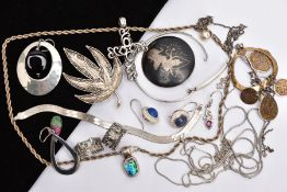 A BAG OF ASSORTED SILVER AND WHITE METAL JEWELLERY, to include a silver bangle, fitted with a mother