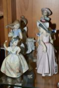 FOUR LLADRO FIGURES OF GIRLS AND TWO OTHERS BY NAO, Lladro comprising 5193 'Juanita', sculpted by