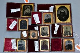 A COLLECTION OF VICTORIAN AMBROTYPES, all in hinged cases with velvet lining and gilt frames, one