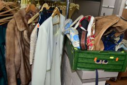A SMALL QUANTITY OF LADIES CLOTHING AND A BOX OF HANDBAGS, etc, the clothes comprise a short