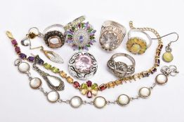 A BAG OF ASSORTED JEWELLERY, to include a white metal mother of pearl bracelet, stamped '925', a