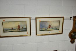 WILLIAM EDWARD JAMES DEAN (BRITISH 19TH/20TH CENTURY), a pair of seascapes with sailing boats in