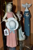 THREE LLADRO FIGURES, comprising 5008 'Girl with Straw Hat', sculpted by Francisco Catala issued