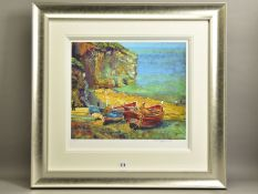ROLF HARRIS (AUSTRALIA 1930) 'FIGURES ON THE BEACH, CORNWALL' limited edition print 31/195, signed