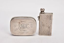 TWO EARLY 20TH CENTURY SILVER TINDER BOXES, the first with hinged lid engraved with scrolling