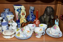 A GROUP OF ORNAMENTS, VASES, COFFEEWARES, ETC, to include five Shelley coffee cups and six