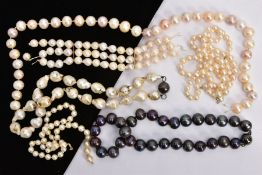 A SELECTION OF CULTURED PEARL JEWELLERY AND PARTS OF JEWELLERY, to include two single row cultured