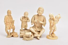 THREE JAPANESE MEIJI PERIOD IVORY OKIMONO, comprising a sectional figure groups of a man and a