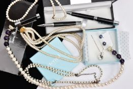A SELECTION OF JEWELLERY AND TWO PENS, to include four cultured pearl necklaces, a pair of dyed