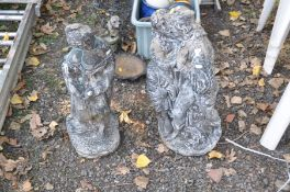 TWO COMPOSITE GARDEN FIGURES, one of sweethearts embracing, height 73cm, the other a servant girl