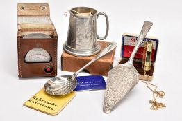 A BAG OF ASSORTED ITEMS, to include a child's nursery rhyme English pewter tankard, a silver-