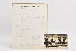 THE BEATLES INTEREST, a 'The Beatles Fan Club' letter bearing printed heading and address for the