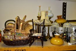 A GROUP OF LAMPS, BASKETS AND A MODERN DOLL SIZED ROCKING CHAIR, wooden chair height 38.5cm has