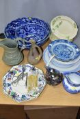 A GROUP OF 19TH AND 20TH CENTURY CERAMICS AND GLASSWARE, etc, to include two Japanese blue and white