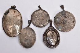 FIVE SILVER LOCKETS, to include a mid Victorian oval silver locket with engraved floral