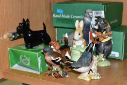 SEVEN BESWICK ANIMAL AND BIRD FIGURES, comprising Pigeon 1383B (blue) Chaffinch 991B (chip to tail),