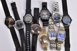 TEN GENTLEMENS FASHION WRISTWATCHES, to include a Casio digital wristwatch, fitted with a blue