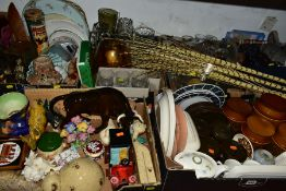 SIX BOXES AND LOOSE CERAMICS, GLASS, METALWARES AND SUNDRY ITEMS to include unmarked ceramic bull