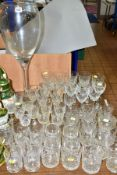 A QUANTITY OF CUT CRYSTAL AND GLASSWARES including novelty wine glass, height 60cm, by Krosno,
