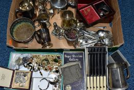 A BOX OF MAINLY SILVER PLATED WARE AND COSTUME JEWELLERY, to include a hinged wooden jewellery