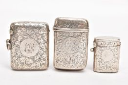 TWO LATE VICTORIAN SILVER VESTAS AND AN EDWARDIAN SILVER VESTA, each of the Victorian vestas with an