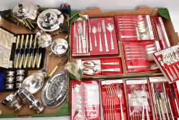 TWO BOXES OF SILVER PLATED WARE, to include a four piece tea service, a cased set of six pairs of