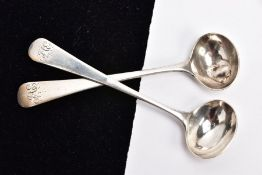 TWO GEORGIAN SILVER MUSTARD SPOONS, each of an old English pattern design, engraved initials to