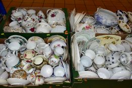 FOUR BOXES OF ASSORTED TEA AND DINNERWARES to include James Kent Ltd Old Foley Chintzware,