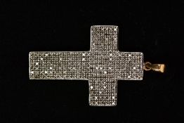 A 9CT GOLD DIAMOND CROSS PENDANT, the cross pendant set throughout with single cut diamonds,