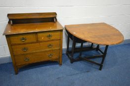 AN EARLY TO MID 20TH CENTURY SOLID OAK CHEST OF TWO SHORT OVER TWO LONG, with a raised shelf and